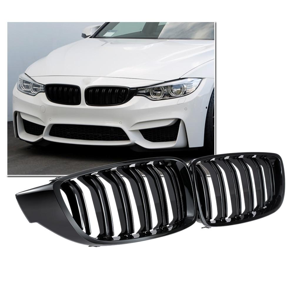 Rejilla frontal negra brillante doble listón M4 Parrilla de estilo deportivo para BMW F32 F33 F36 F82 Cabriolet Coupe