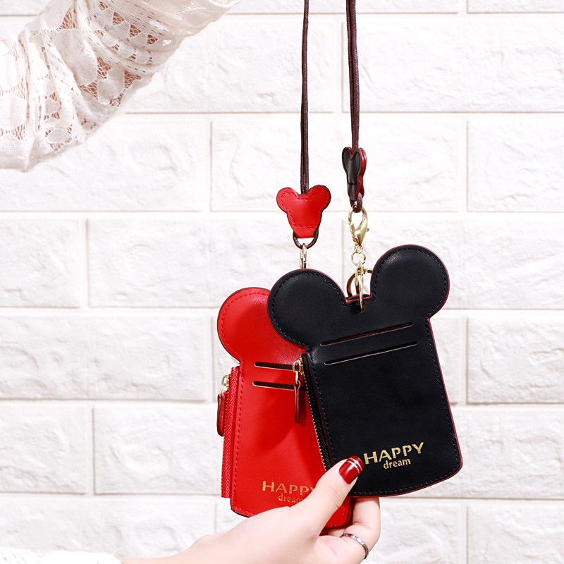 Linda caricatura Minnie llavero pareja tarjeta de trabajo titular pasaporte Mini Mickey Funda de cuero PU cartera tarjeta Set encanto regalo