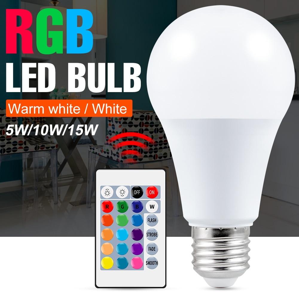 E27 Smart Light Bulbs Led 220V RGB Dimmable Lamp LED 5W 10W 15W RGBWW Bulb RGBW Magic 110V Intelligent Bombilla 85-265V