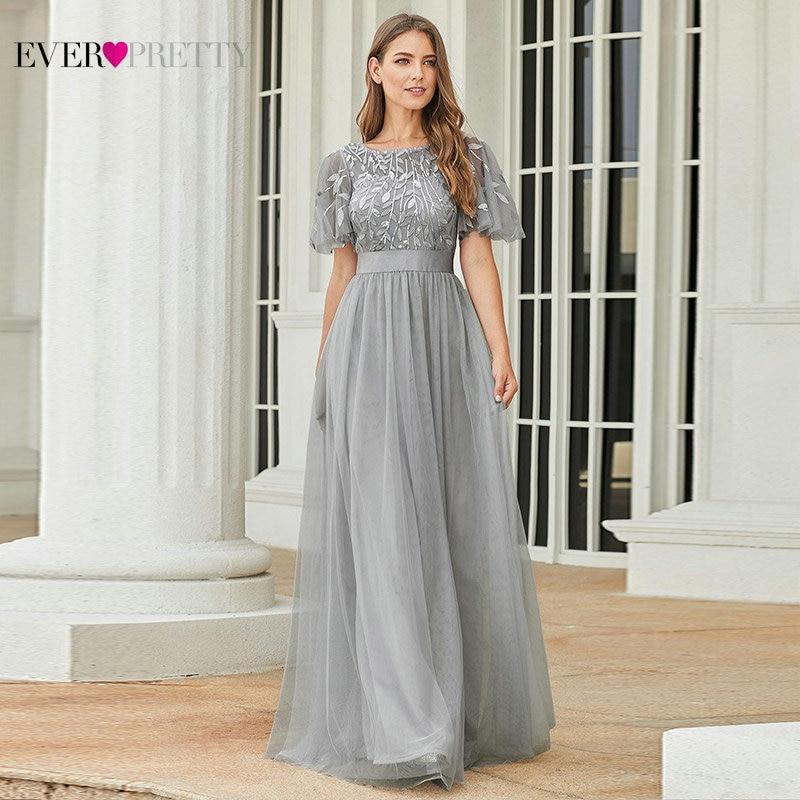 Robe De Soiree Sparkle Evening Dresses Long Ever Pretty EP00904GY A-Line O-Neck Short Sleeve Formal Dresses Women Elegant Gowns