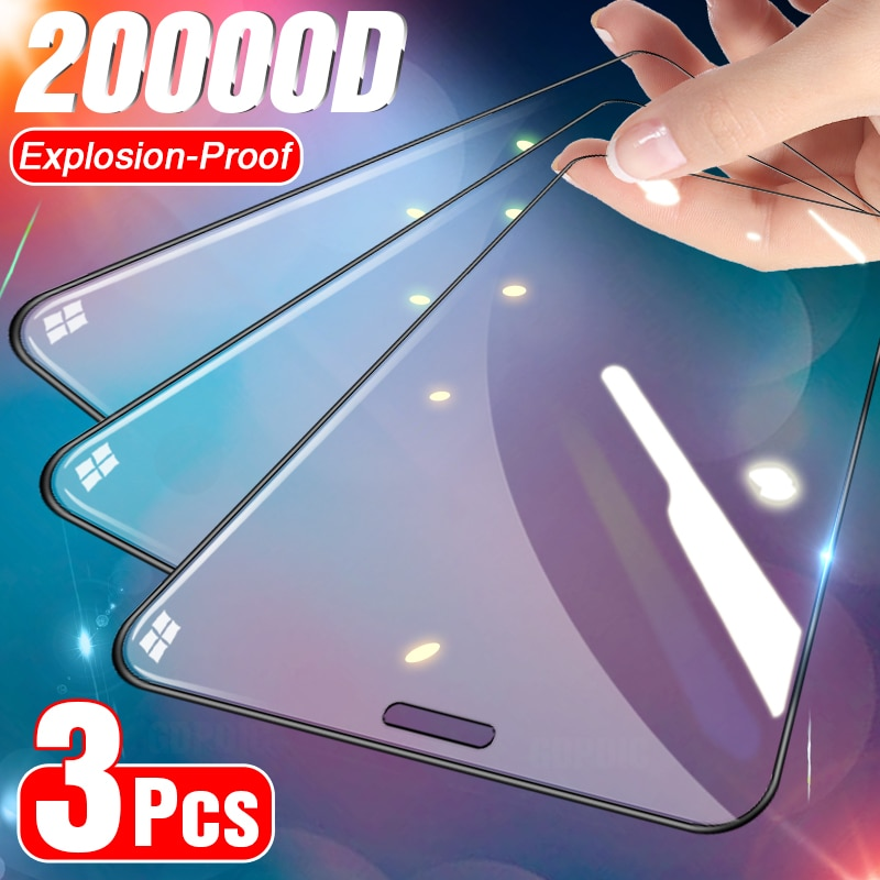 3Pcs Full Cover Tempered Glass on For IPhone 11 12 Pro Max Screen Protector for IPhoneX Xs Max XR Curved Edge Protective Glass