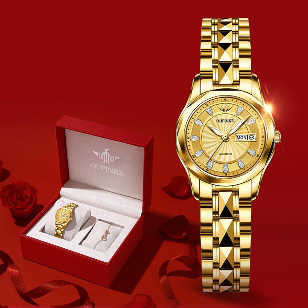 OUPINKE Luxury Gold Mechanical Watch For Women Sapphire Crystal Automatic Watch Ladies Wristwatches Waterproofrelogio feminino