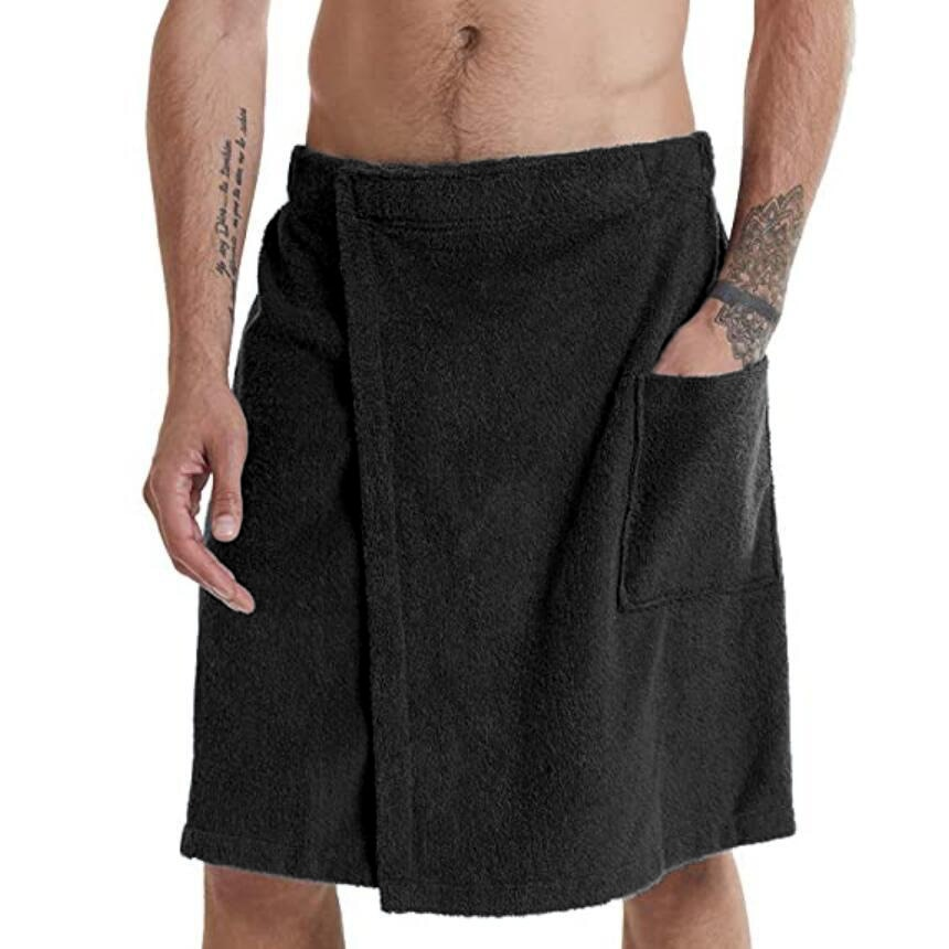 Men's soft bathrobes, comfortable home clothes, solid color men's bath dress and nightgown, wearable bathrobe towels and pocket