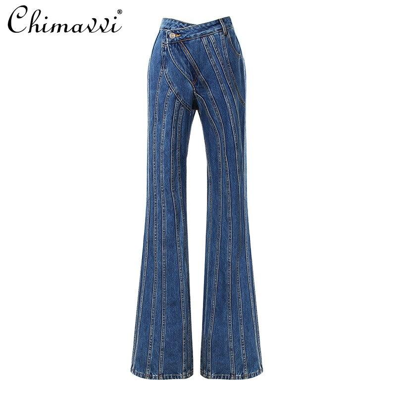 موضة خريف 2021 الجديدة للسيدات سراويل جينز بخصر مائل غير متماثل للسيدات ملابس خروج نسائية بنطال جينز مفتوح كامل الطول