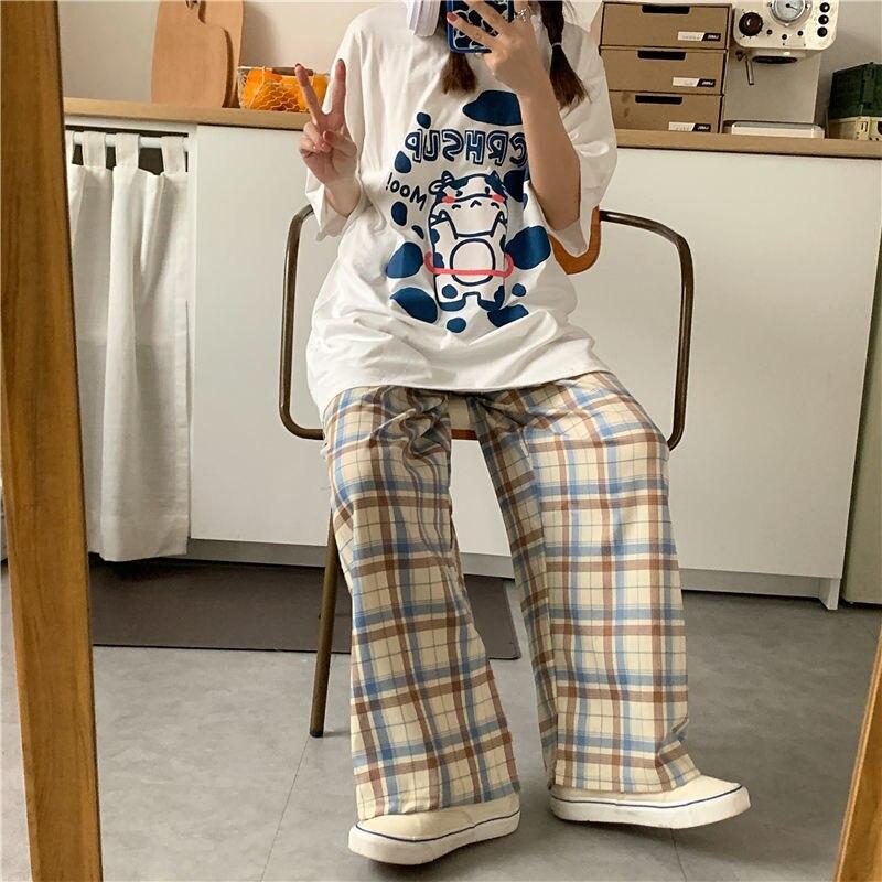 Женские спортивные клетчатые брюки для бега QWEEK в стиле Харадзюку, корейская мода, широкие штаны, повседневные клетчатые брюки большого раз...