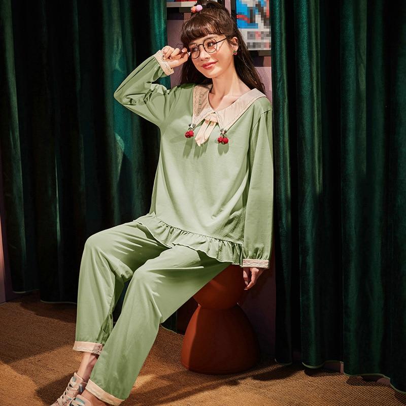 Ladies pajamas set, doll collar pullover, cherry cotton pajamas, ladies set soft, comfortable and breathable home set JJF0221 set eponj home set