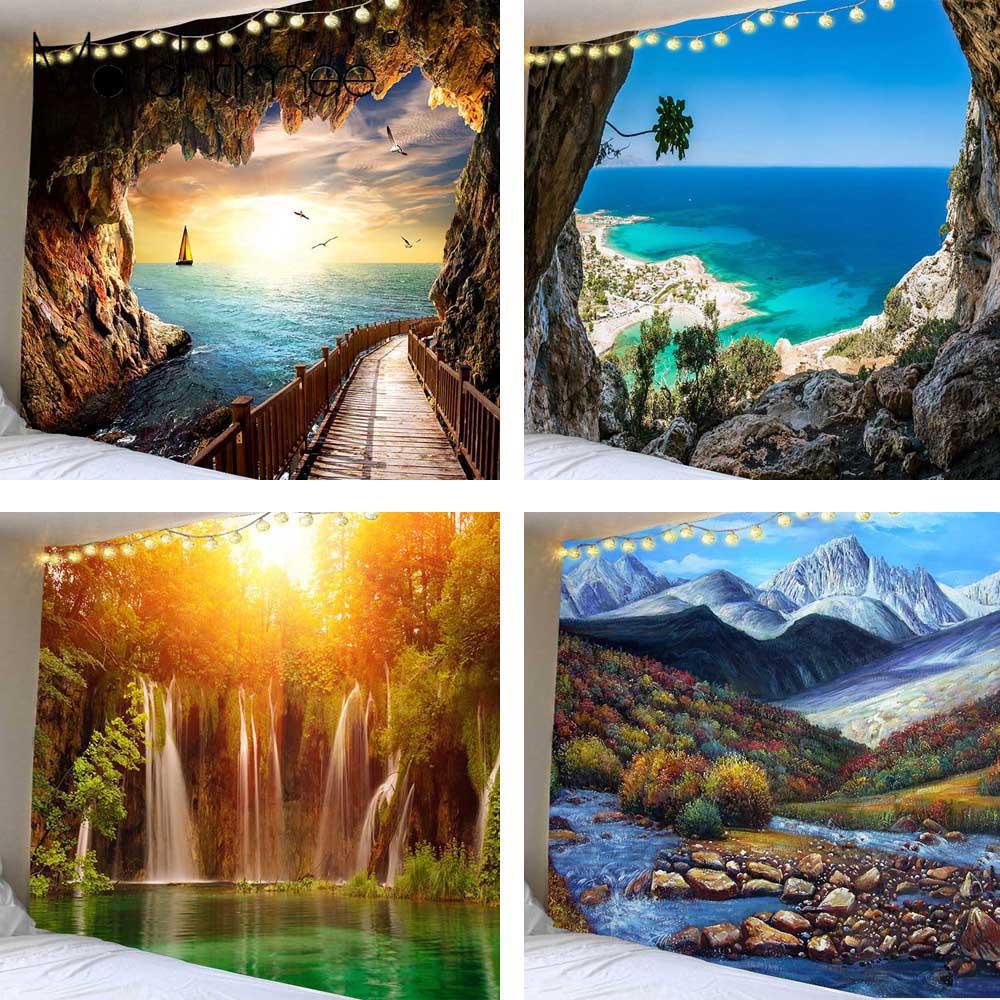 Красивый гобелен с изображением водопада, Пляжный Пейзаж, настенные гобелены в стиле хиппи, гобелены на стену, подвесной гобелен 200x150 см