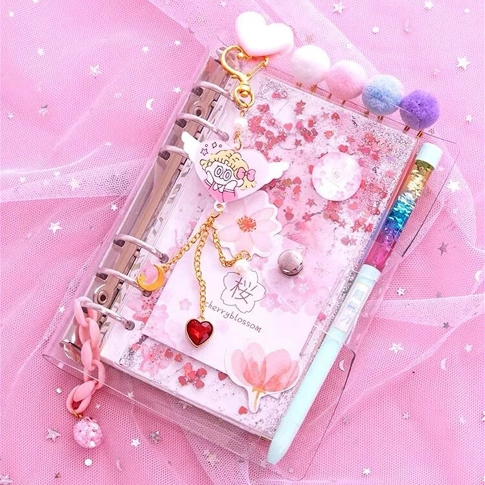 YHSMTG 2021 Sharkbang Kawaii Bling Bling Cherry Blossoms A6 Loose Leaf Diary Notebook Note Book Agenda Planner 160 Sheet