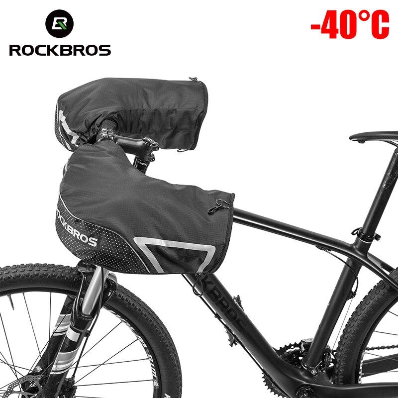 ROCKBROS Bar Mitts Snowmobile/ATV/Dirt Bike Mitts Cycling Thermal Fleece Lining MTB Handlebar Windproof Winter Gloves Mittens