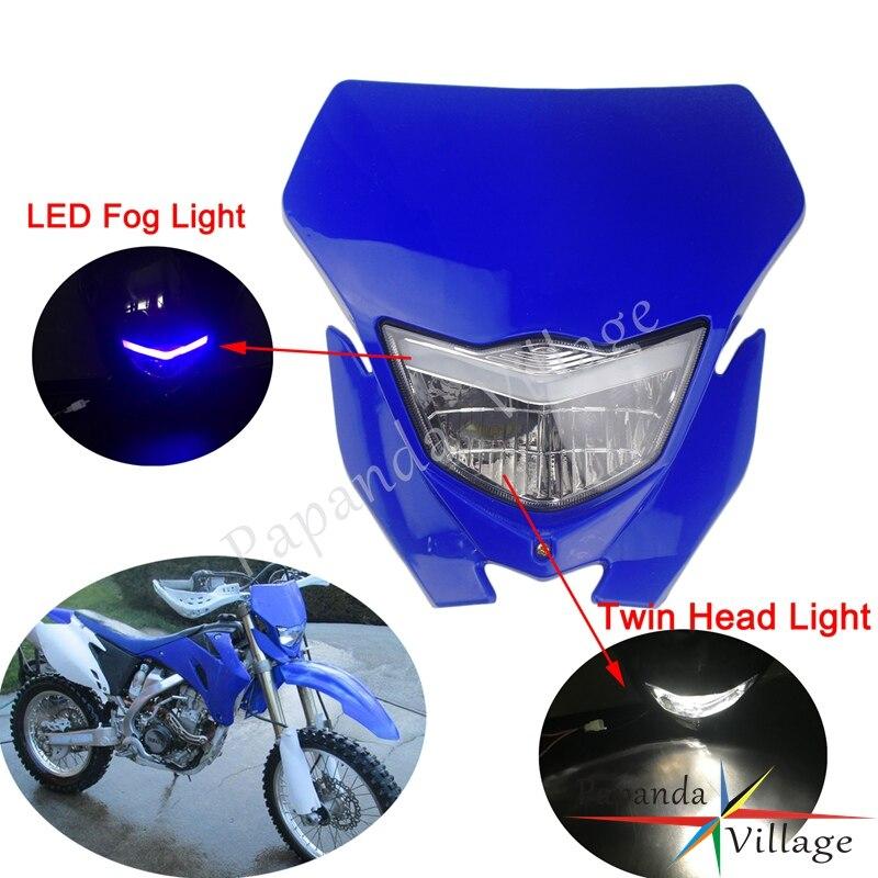 Universel Enduro Racing phare H4 double lumière LED antibrouillard avant lampe masque pour Yamaha WR250 WR450 TTR TT-R YZ85 YZ125F YZ250F