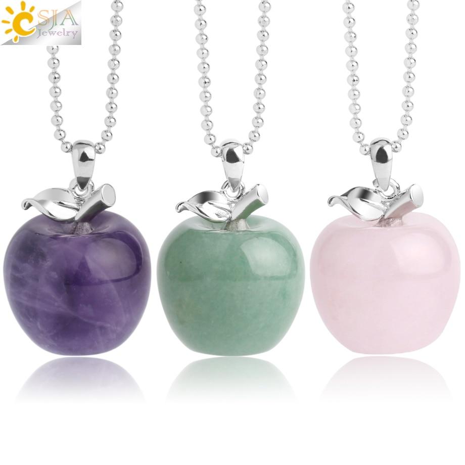 Подвеска CSJA из яблока, подвеска из натурального камня, кулоны с кристаллами, кварцевые кулоны, модные украшения для женщин, подарок G046