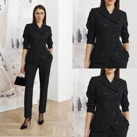 fashion women blazer suits 2 pieces double breasted black peaked lapel office lady wear casual daily chic jacket pants