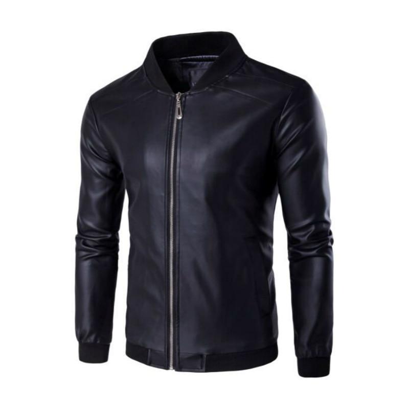 Leather Jacket Men Spring Jacket Baseball Collar Coat Solid Color Casual Motorcycle Jackets Men Youth Wild Autumn PU Jacket