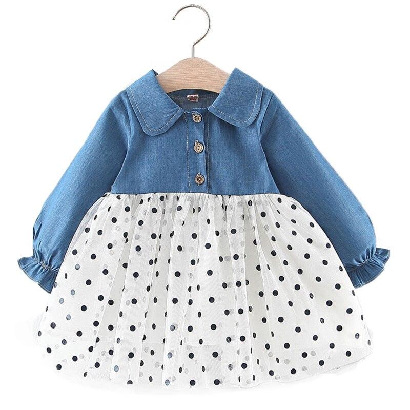 Vestido de bebé niña otoño 1-3T, vestido básico de manga larga a la moda para niña bebé, vestido de princesa para bebé con Puntilla de malla vaquera 2019