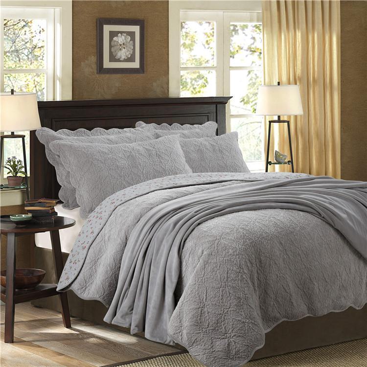 Conjunto de cama acolchado Reversible de tamaño Queen, 3 piezas, colcha de forro polar Ultra suave, colcha de almohada Azul, Gris, marrón