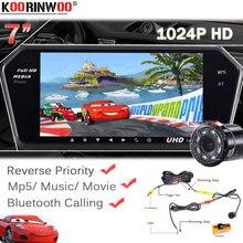 Moniteur de rétroviseur de voiture   Écran HD 7 pouces 1024*600, Bluetooth MP5 avec fente USB/SD, caméra de vue arrière de voiture, vistion nocturne, asymétrique de stationnement