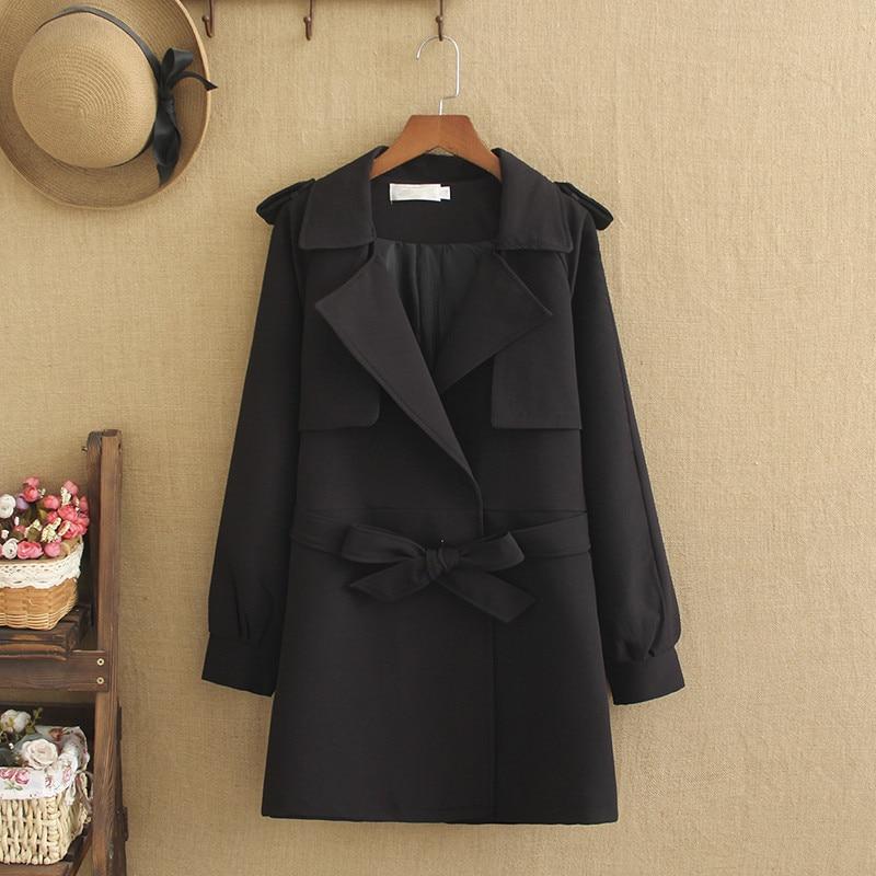 Plus Size Large Women spring collection trench coat slim slim medium-length waistband lapel coat 220 pounds women's trench coat
