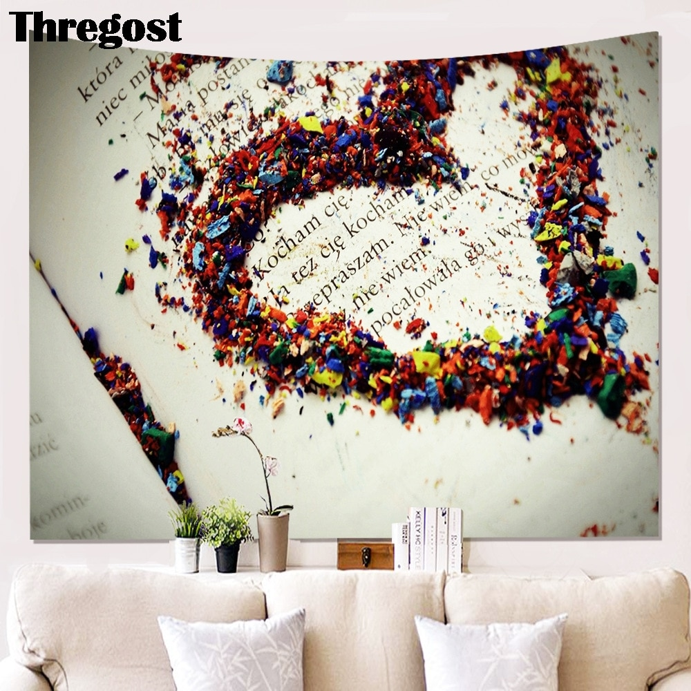 Modern Heart Printed Wall Decorative Tapestries Hanging Curtain Fabric Multifunctional Cloth for Decor Cloth Craft Wall Rug