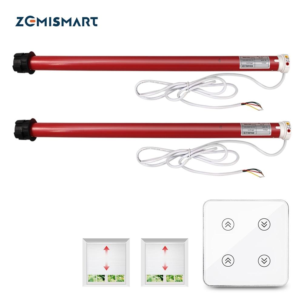 Zemismart زيجبي ستارة كهربائية دوارة المحرك مع 2 قنوات التبديل ل 36-38 مللي متر أنبوب الستائر مصاريع التحكم اليكسا جوجل المنزل