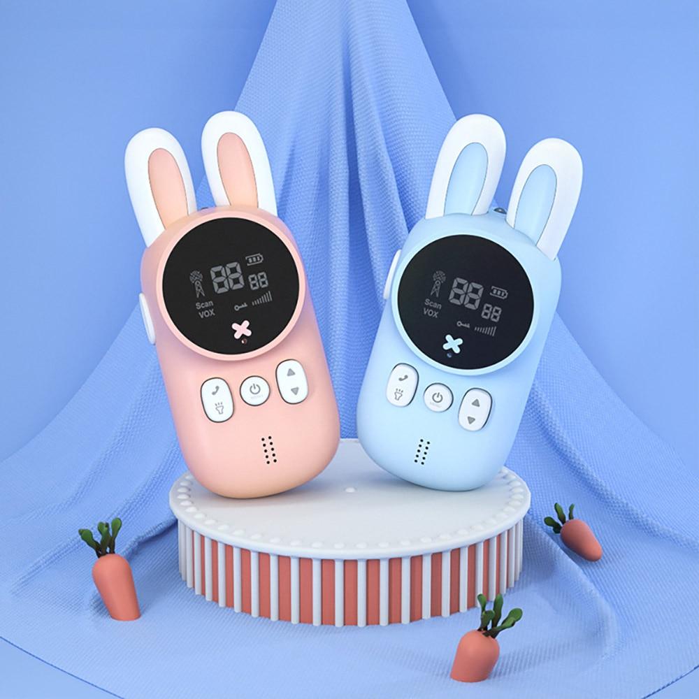 2PCS Toy Walkie talkie Mini Walkie-talkies Handheld Transceiver 3KM Range Children radio Lanyard Interphone Toys For Kids Gifts