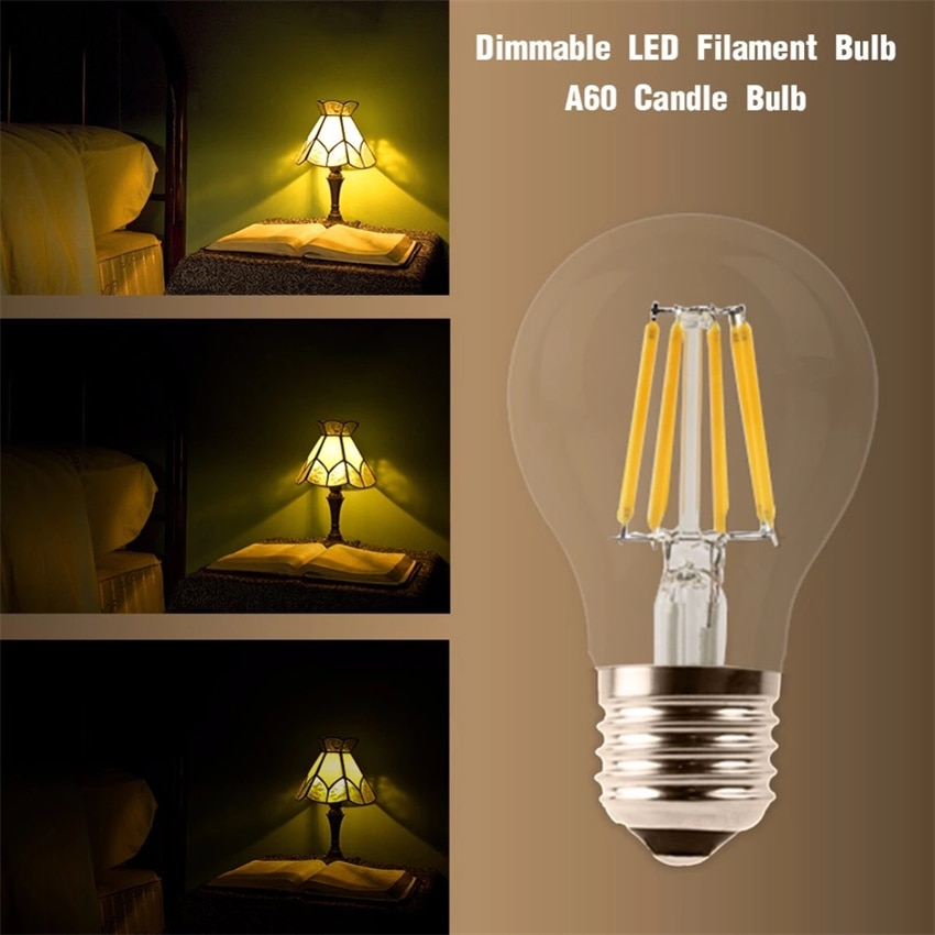 YANG MIN Free Shipping 360 Degree  6W High Quality Warm White Dimmable String Lighting Replacement LED Filament Bulbs Vintage