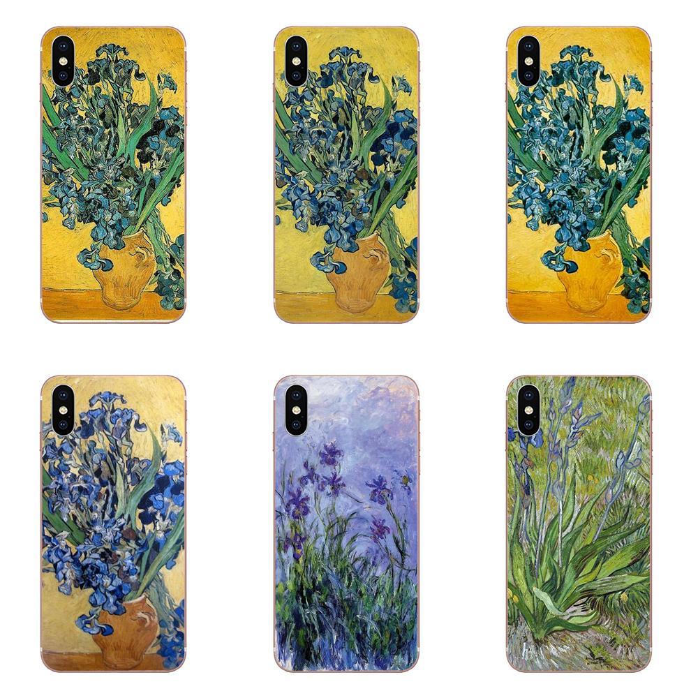 Celular suave bolsas Van Gogh lirios para Xiaomi mi 3 mi 4 mi 4C mi 4i mi 5 mi 5S 5X6 6X8 SE Pro Lite A1 Max mi x 2 Note 3 4