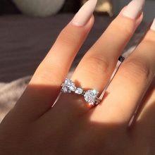 Nouveau bijoux de mode élégant arc Style Boutique anneau doux Zircon bague romantique Unique fiançailles bague de mariage