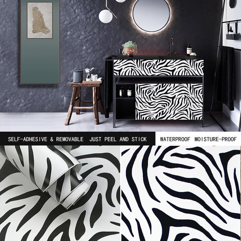 "Papel tapiz Peel Stick, Papel negro de contacto decorativo, flores de cebra blancas, 17,7 ""x393"", pegatina de pared autoadhesiva DIY para cajón de dormitorio"