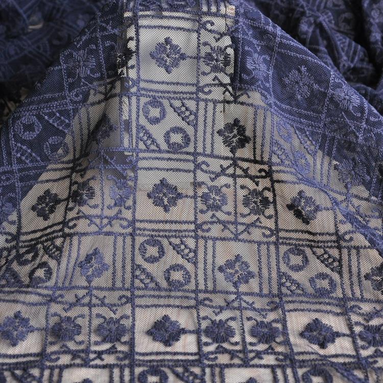 Azul oscuro malla bordado vestido de tela de encaje tela de vestido