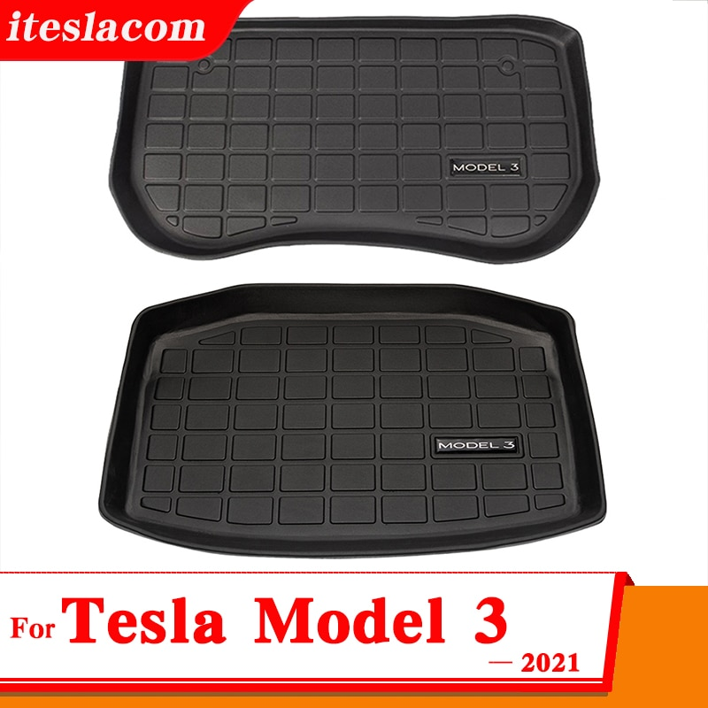 2021 Hot! Model3 Mat Front & Rear Trunk Storage Box Mats For Tesla Model 3 2021 Accessories Car Trun