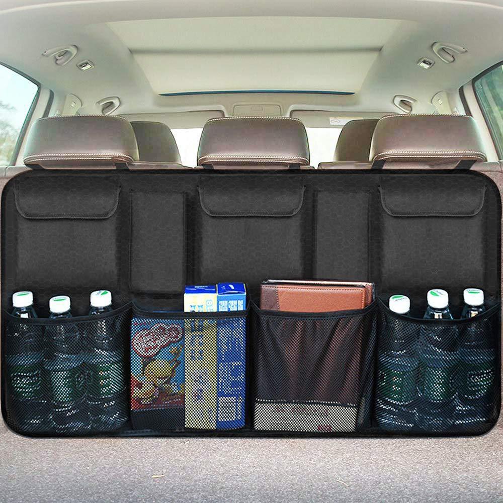 Organizador de maletero de coche Universal, bolsa de almacenamiento para asiento trasero, Red en el maletero, Oxford, multiusos, accesorios Organizadores de automóviles