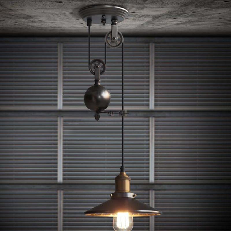 بكرة الحديثة الرجعية اديسون لمبة إضاءة الثريا خمر Loft العتيقة قابل للتعديل لتقوم بها بنفسك E27 الفن مُثبتة في السقف تجهيزات الإضاءة الخفيفة