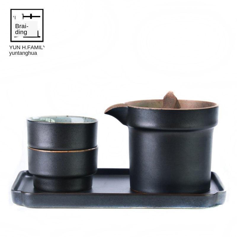 Japanese Crude Tao Yi Pot Two Cups of Tea Set Ceramic Kung Fu Travel Tea Tea Ceremony Set Tea Pot with Cup European Tea Set