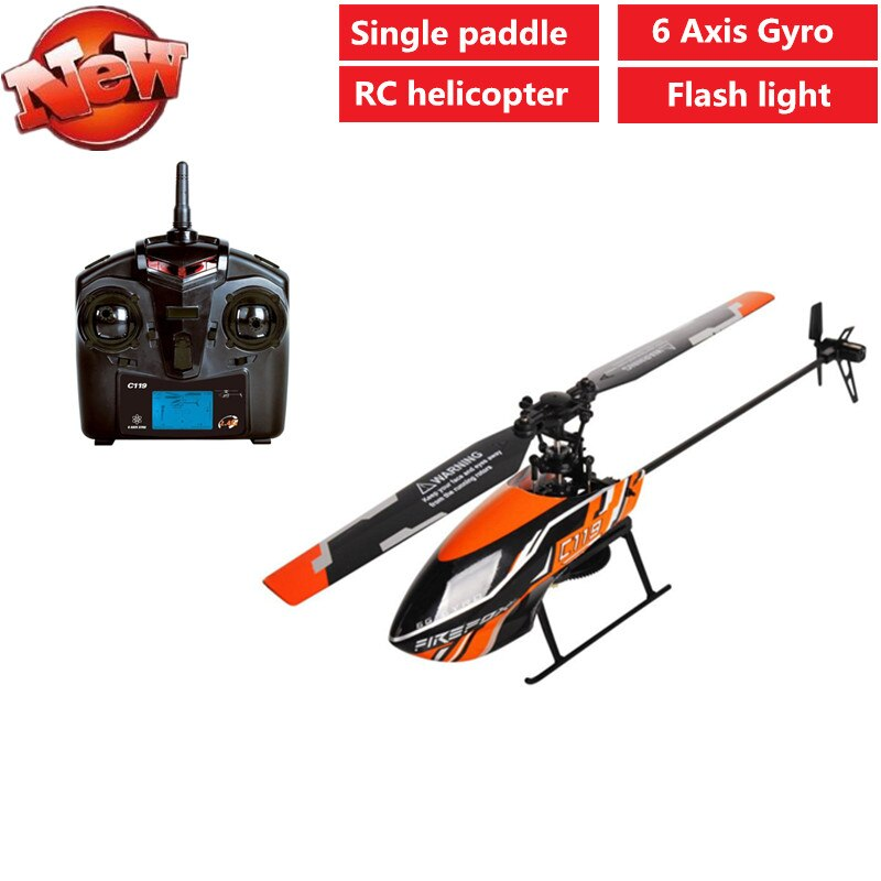 Single paddle without wing Remote Control Helicopter 2.4G 4CH 6 Axis Gyro Flybarless RC Helicopter With flash Light RTF Aircraf