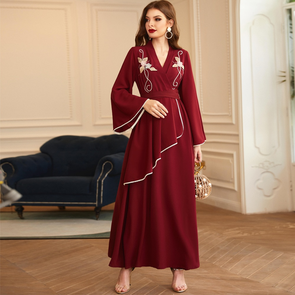 Elegant Wine Red Vestidos Muslim Fashion Dress Abaya Turkey For Women Handmade Hair Ball Pearls Middle East National Costume
