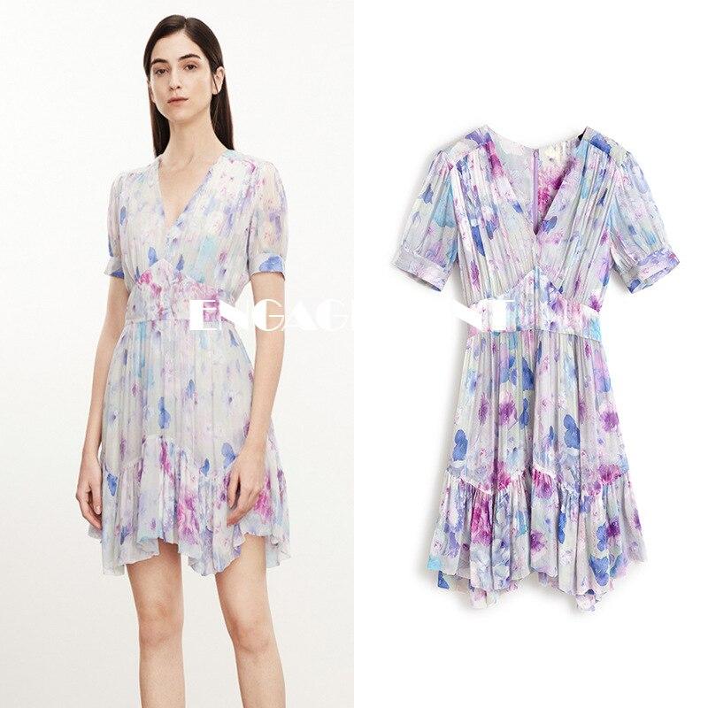 ENGAGEMENT   2021 Summer New Dream Purple Chiffon Printed Dress Female V-neck Short Sleeve Fairy Skirt
