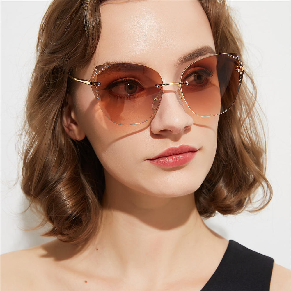 Rimless Crystal Cut Cat Eye Sunglasses With Diamonds Europe And America New Popular Sunglasses Retro