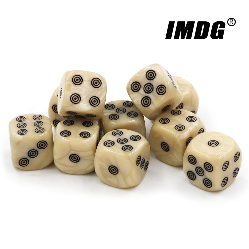 10 шт./упак. 16 мм акриловые кости цвета слоновой кости закругленные кубики для развлекательной Вечеринки аксессуары для Маджонга кости