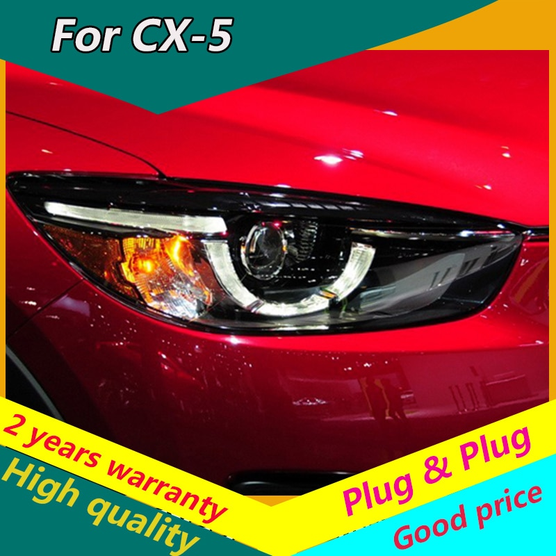 KOWELL Car Styling para Mazda CX-5 faros 2013-2016 para CX-5 lámpara de cabeza led DRL luz delantera bi-xenon lente doble haz HID KIT
