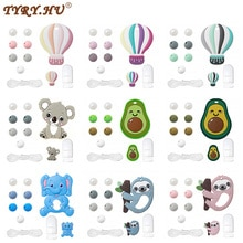 TYRY.HU Silicone Beads Set Pacifier Chain Baby Silicone Teether Bead BPA Free DIY Accessories Set Pacifier Chain Pacifier Clips