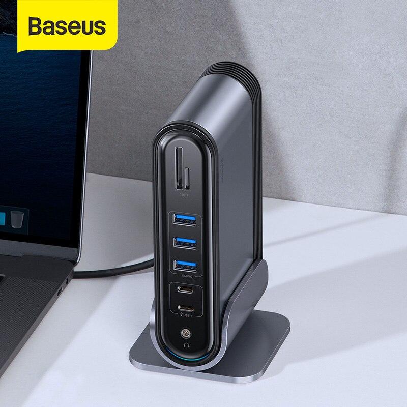 Baseus-محطة إرساء USB 3.0 مع محول طاقة ، موصل USB من النوع C إلى متعدد HDMI ، متوافق مع MacBook Pro RJ45 OTG