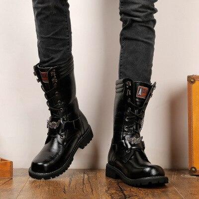 Masculinas com Dedo do pé Botas de Couro de Alta Botas de Combate Botas de Cowboy Preto Retro Botas Redondo Qualidade Militares Masculinas 2021