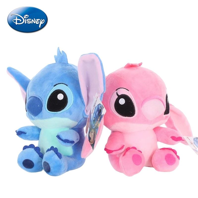 Disney Лило и Ститч, 20 см, розово-голубая пара, милые Мультяшные плюшевые игрушки, аниме, мягкий брелок, кулоны-куклы, подарок девочке, ребенку на...
