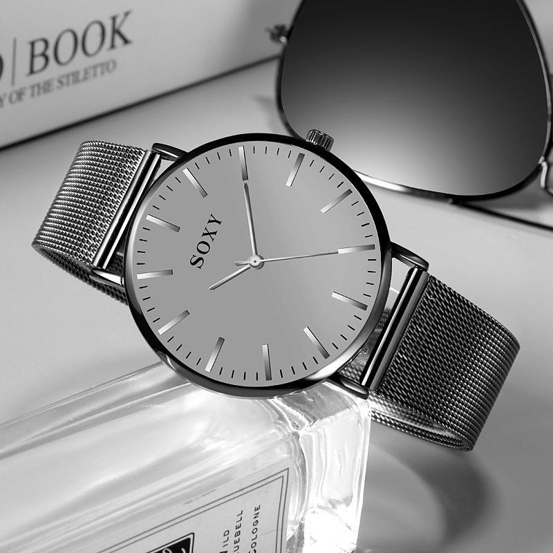 Reloj SOXY de lujo para hombre, reloj de cuarzo, esfera sencilla, correa de acero inoxidable, reloj para hombre, reloj Masculino Zegarek Meski