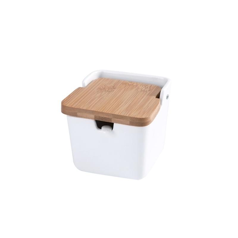 1 cuenco de azúcar, recipiente de almacenamiento cuadrado de diseño moderno blanco, recipiente de condimento con cuchara y tapa de bambú para el hogar de la cocina
