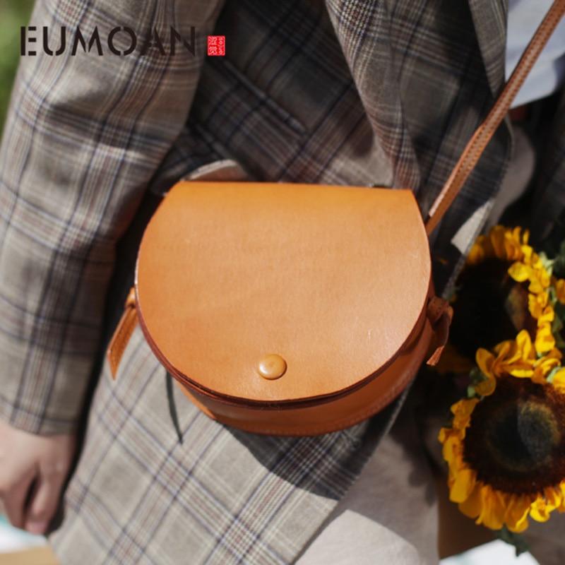 EUMOAN Vintage leather saddle bag, women's slanted semi-round small bag, trend small fresh women's bag