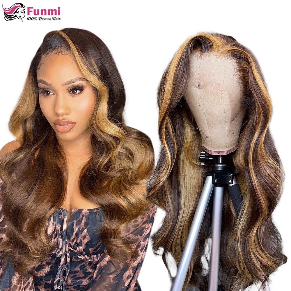 P4/27 Highlight Wig Brazilian Body Wave Wig Lace Front Human Hair Wigs For Black Women Honey Blonde Ombre Lace Frontal Wig Remy