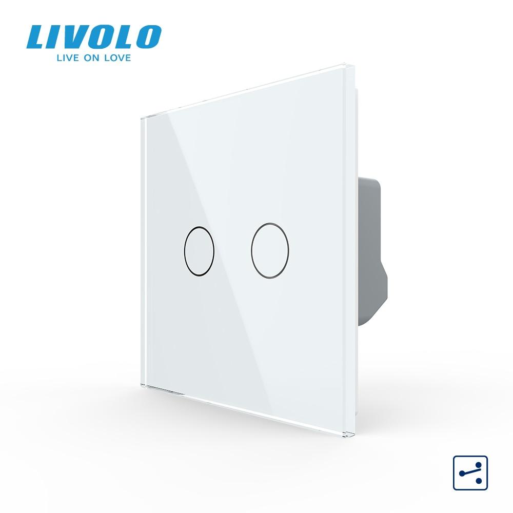 Livolo الاتحاد الأوروبي القياسية 2 عصابة 2Way الجدار التحكم باللمس مفتاح الإضاءة ، الكريستال والزجاج لوحة ، عبر درج وظيفة ، 10A ، عرض الخلفية