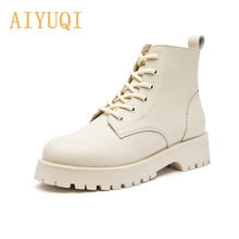 Women Martin Boots Genuine Leather 2021 New Autumn Fashion Women Short Boots British Style Thick-sol