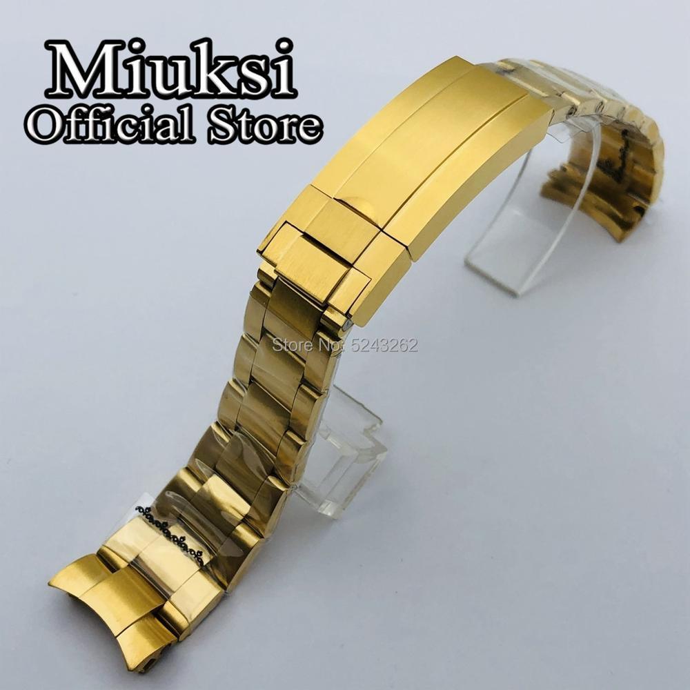 Pulseira de Relógio Pulseira dos Homens Miuksi Ouro Inoxidável Sólido Dobrável Fivela Caber 40mm Sub Case Relógio 20mm 316l Aço